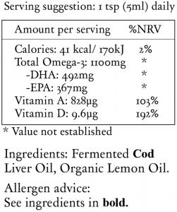 nutritional information fermented cod liver oil